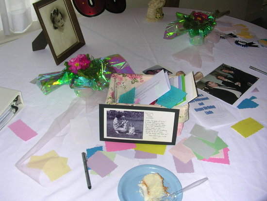 Table for collecting cards.  Also, guests were asked to write down a memory of Linda or Words for Linda on pieces of scrap book paper cut out to be included in a scrapbook of her party.